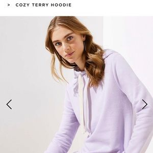 ISO LOFT terry hoodie size xs in lilac orchid